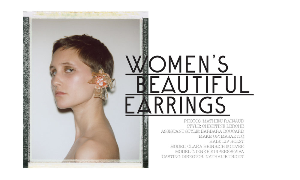 Une série signée Mathieu Rainaud pour 1nstantA gauche Clara porte une boucle d'oreille floral en résine Neith Nyer.