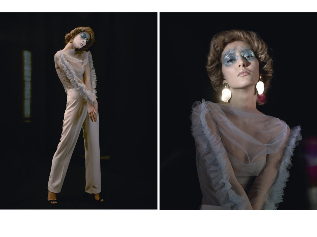 Top Gaelle Coz ; Pantalon Isabelle Farmer ; boucles d'oreilles Mango ; chaussures Zara