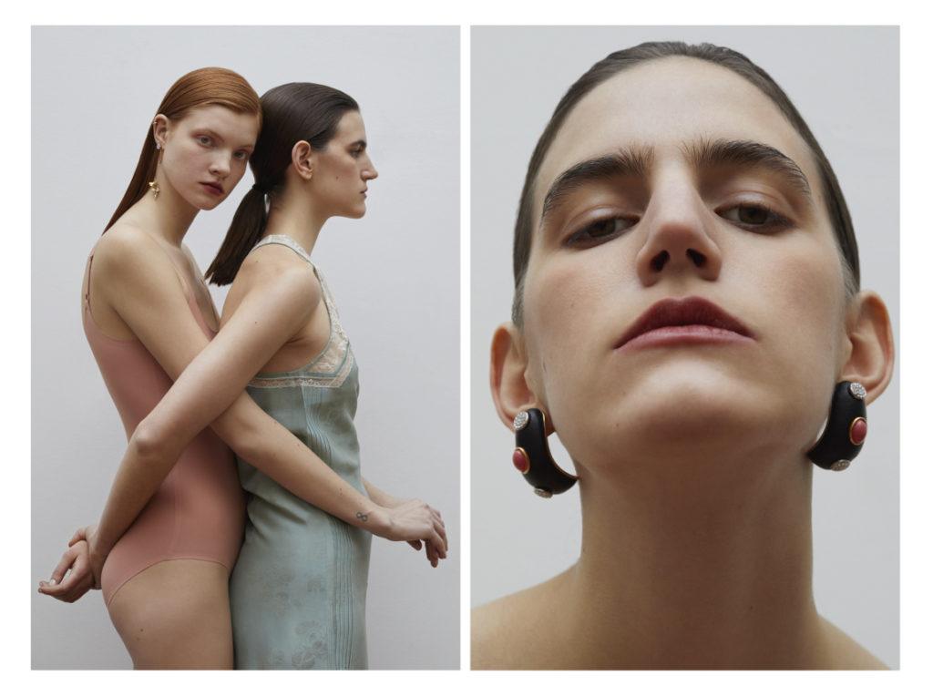 A gauche Robe lingerie Zadig & Voltaire ;  Body Chantelle ; BO Monshiro A droite ; Bo Louis Vuitton