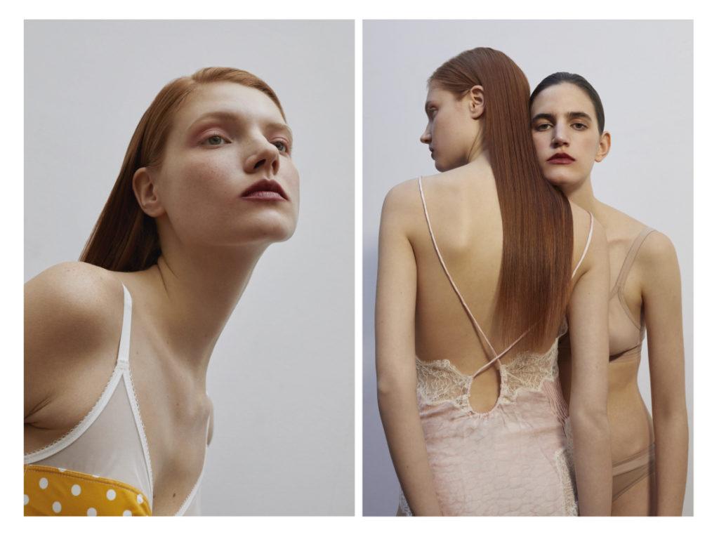 A gauche soutien gorge Dim ; à droite  Top lingerie caraco Zadig & Voltaire ; Slip Etam ; soutien-gorge Princesse Tamtam ; Slip Dim