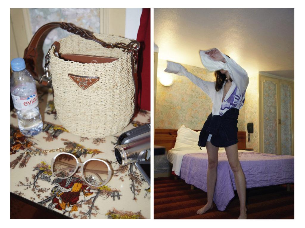 A gauche sac Prada A droite Nina porte une chemise Gamut ; blouson Uniqlo