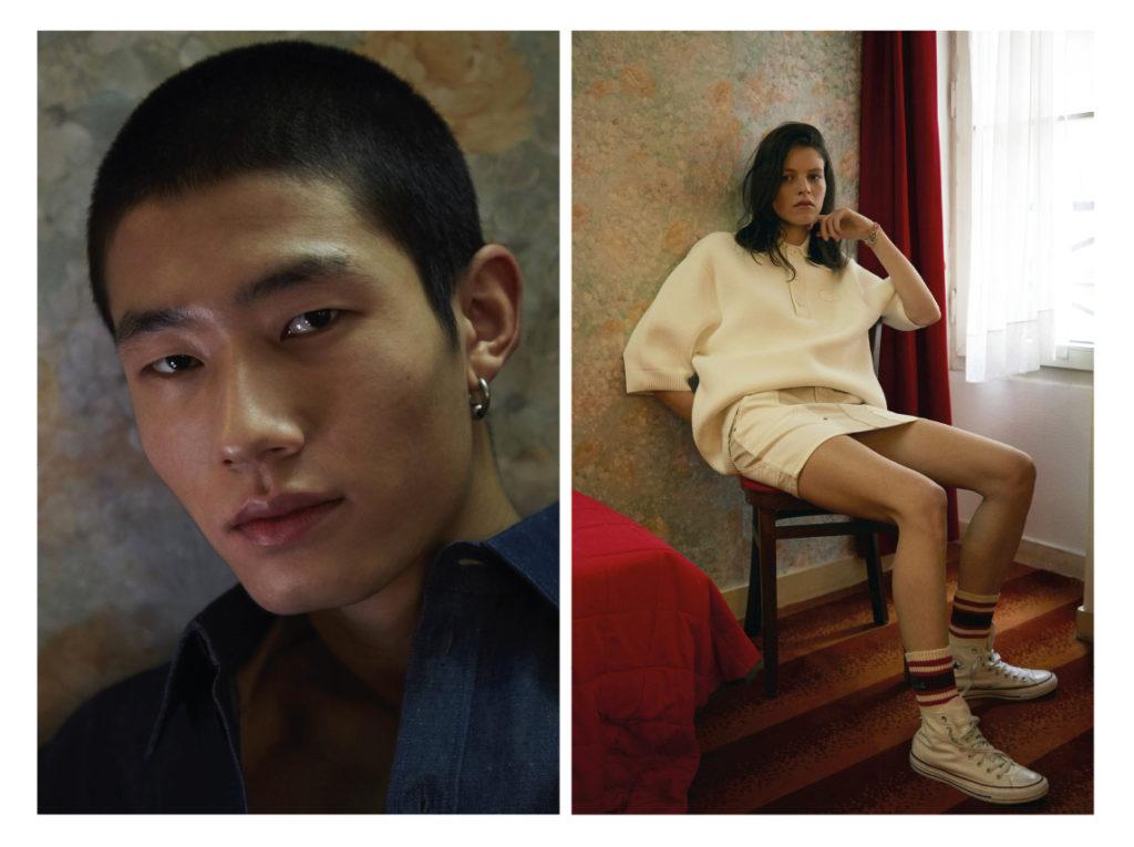 A gauche Guo porte une chemisette Maison Kitsuné ; haut Blue Marble Nina Kushta porte un  polo Lacoste ; jupe Current Elliot ; chaussettes Lacoste ; Converses