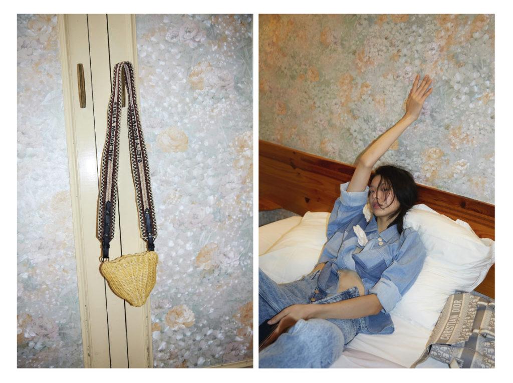 A gauche sac Stella McCartney A droite Yaoqin porte une chemise Bimba y Lola ; jean Rouje ; broche Chanel ; sac Dior