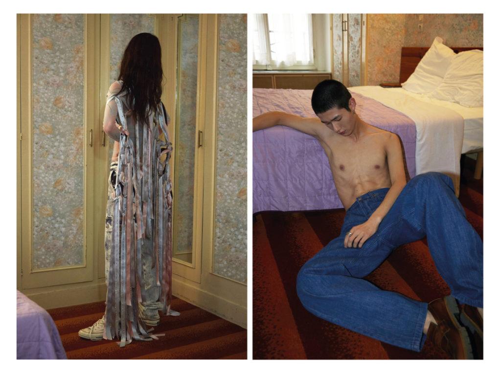 A gauche Namyoon porte un look  Giorgio Armani ; jean Maison Margiela ; Converses basses A droite Guo porte un jean COS ; mocassins Off-White