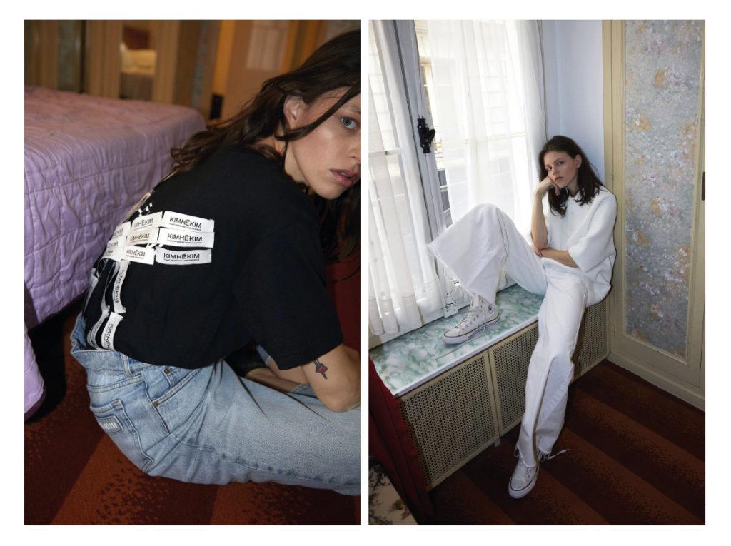 A gauche Nina porte un  t-shirt Kimhekim ; jean Miu Miu A droite Nina porte un jean Matchesfashion.com ; polo Lacoste - Converses hautes
