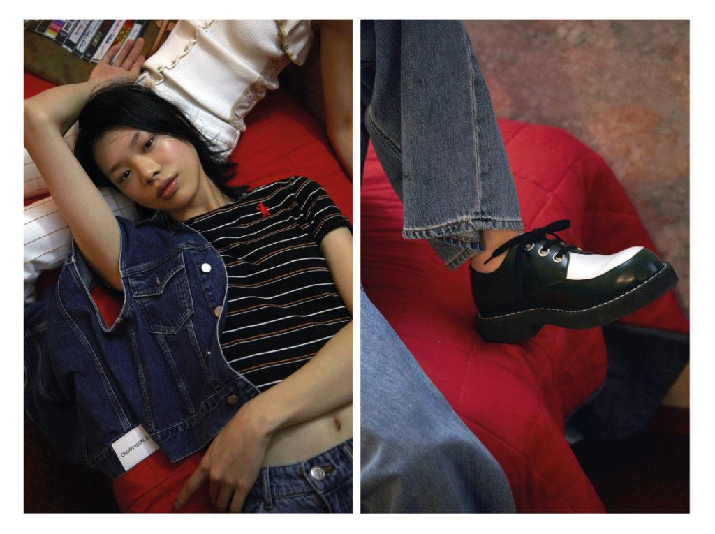 Yaoqin porte un blouson Calvin Klein ; top Marni ; jean Monki ; Namyoon porte un top Koché ; jean Chanel ; sac Louis Vuitton Groas plan A droite jean Monki ; derbies Marni