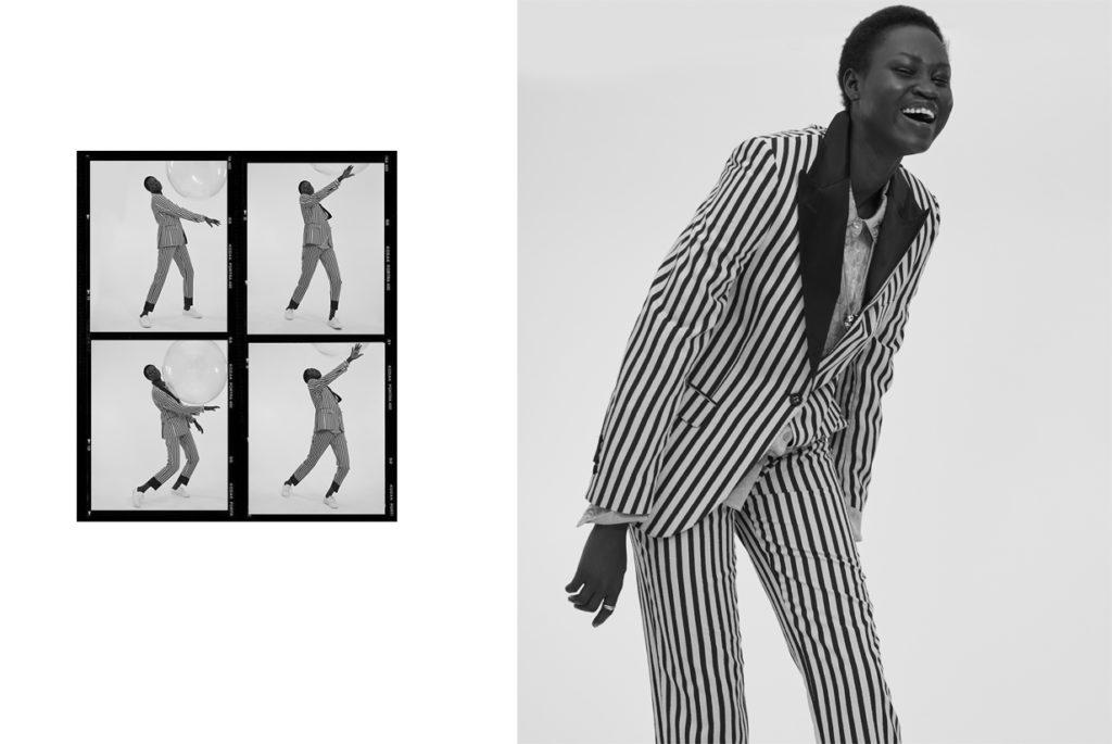 Yena Deng porte un costume OFFICINE GÉNÉRALE ;  Chemise DROME ; Baskets ZIMMERMANN