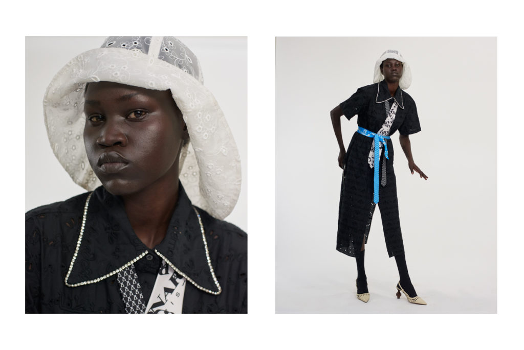 Yena Deng porte une robe AREA ; Chapeau MAISON MICHEL ; ceintures cravates LEONARD PARIS ; souliers MARTINEZ