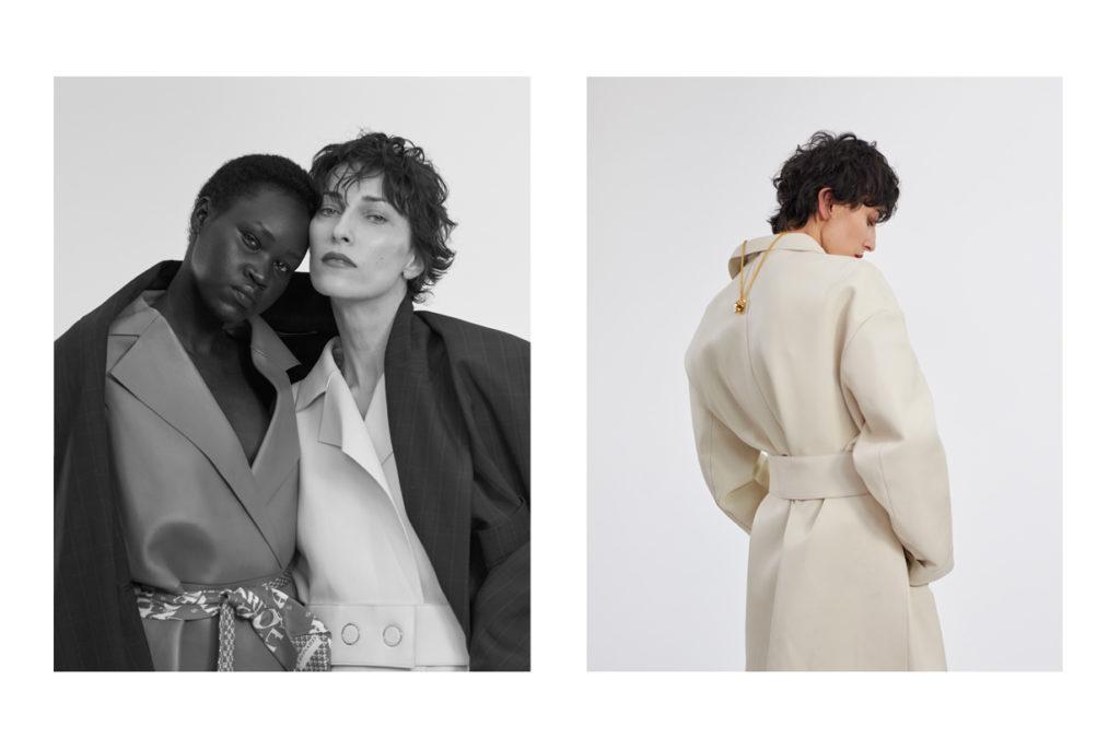 Yena Deng et Anna Maria Cioboata portent des manteaux en cuir BOSS ; manteau XL KIMHEKIM ; à la taille cravates en soie LEONARD PARIS. Anna Maria Cioboata porte un collier COLLECTION  PANTHÈRE CARTIER