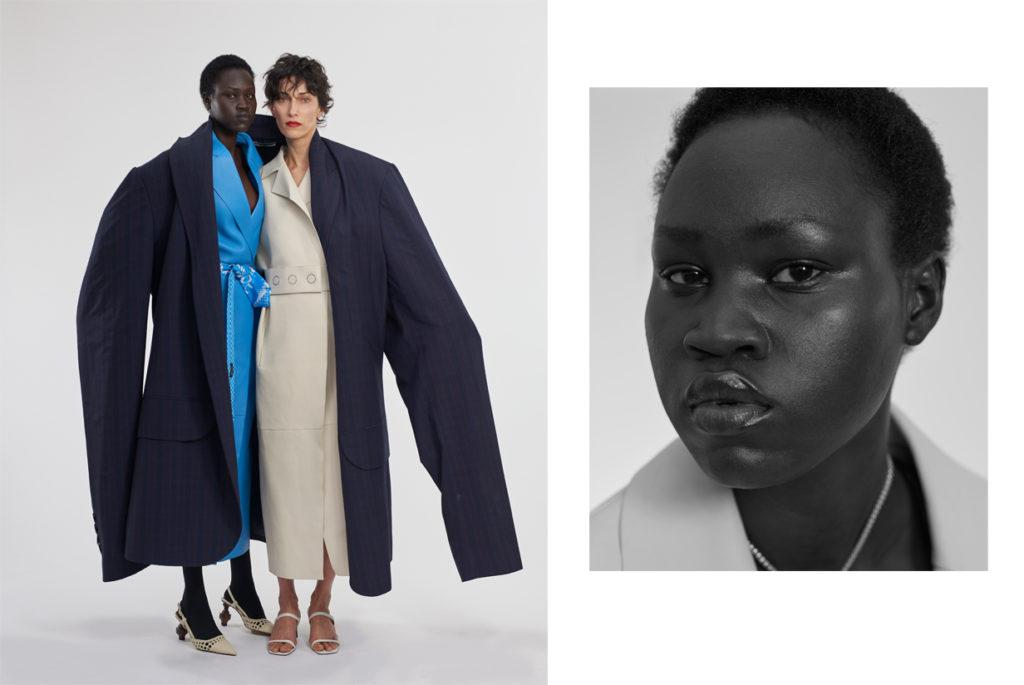 Yena Deng et Anna Maria Cioboata portent des manteaux en cuir BOSS ; manteau XL KIMHEKIM ; souliers MARTINEZ