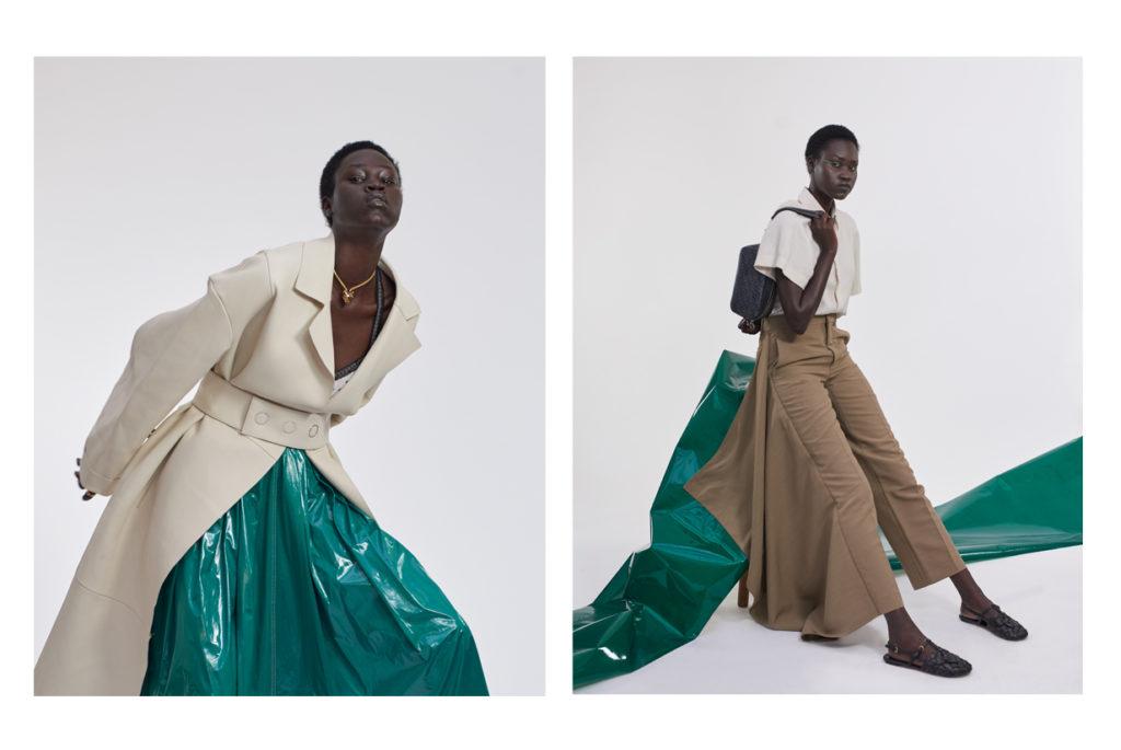 Yena porte un manteau BOSS ; jupe SIES MARJAN ; collier Panthère CARTIER. A droite Yena porte un total look AMI PARIS ; sac cuir jacquard MOREAU PARIS ; sandales PRADA