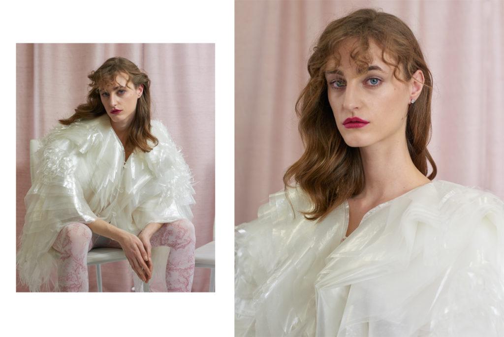 Ines Pottier porte une blouse Veste Mame KUROGOUCHI ; collant WOLFORD