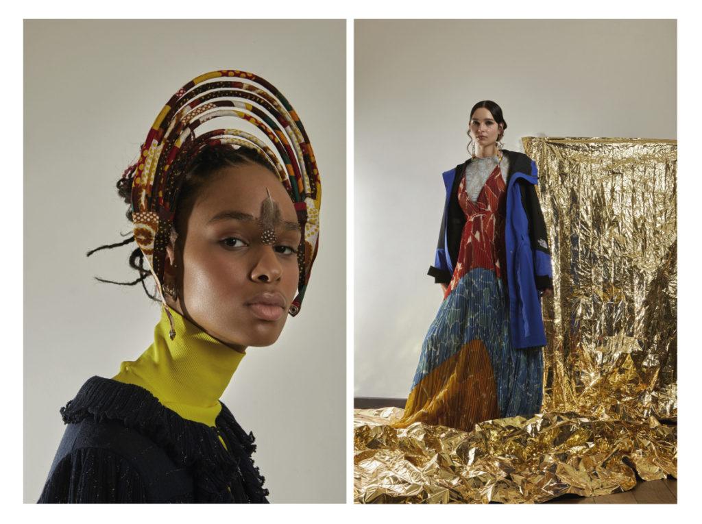 A gauche; Lyne porte un sous-pull The North Face Robe Chanel; collier Massai en wax. A droite Clara porte une robe longue Missoni ; parlka North Face.