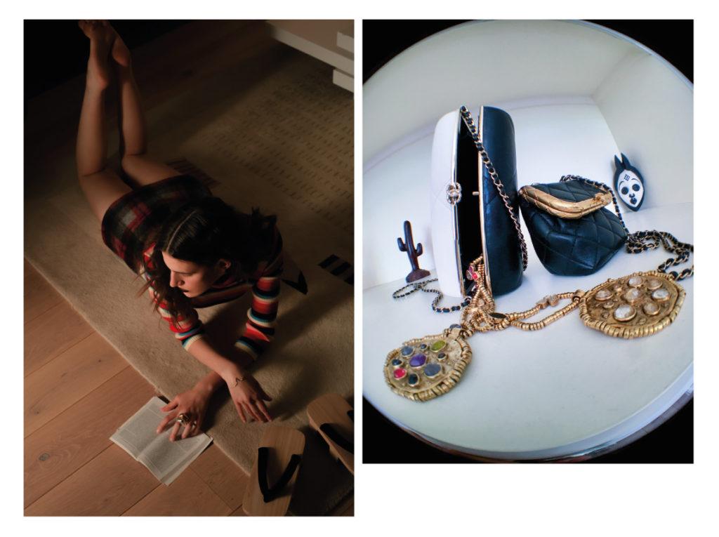 Pull Holidays ; robe Tod's ;  Bague «V-II» en bronze plaqué or 24 carats, LE.MAT Paris ;  Bracelet «Kintsugi Victoria» en or jaune, serti d'un diamant navette, MILAMORE. Sac Chanel ; Collier médaillon, « mini cabochon » en metal trempé dans un bains d'or 24carats, orné de cabochons en cristal de roche, GOOSSENS.