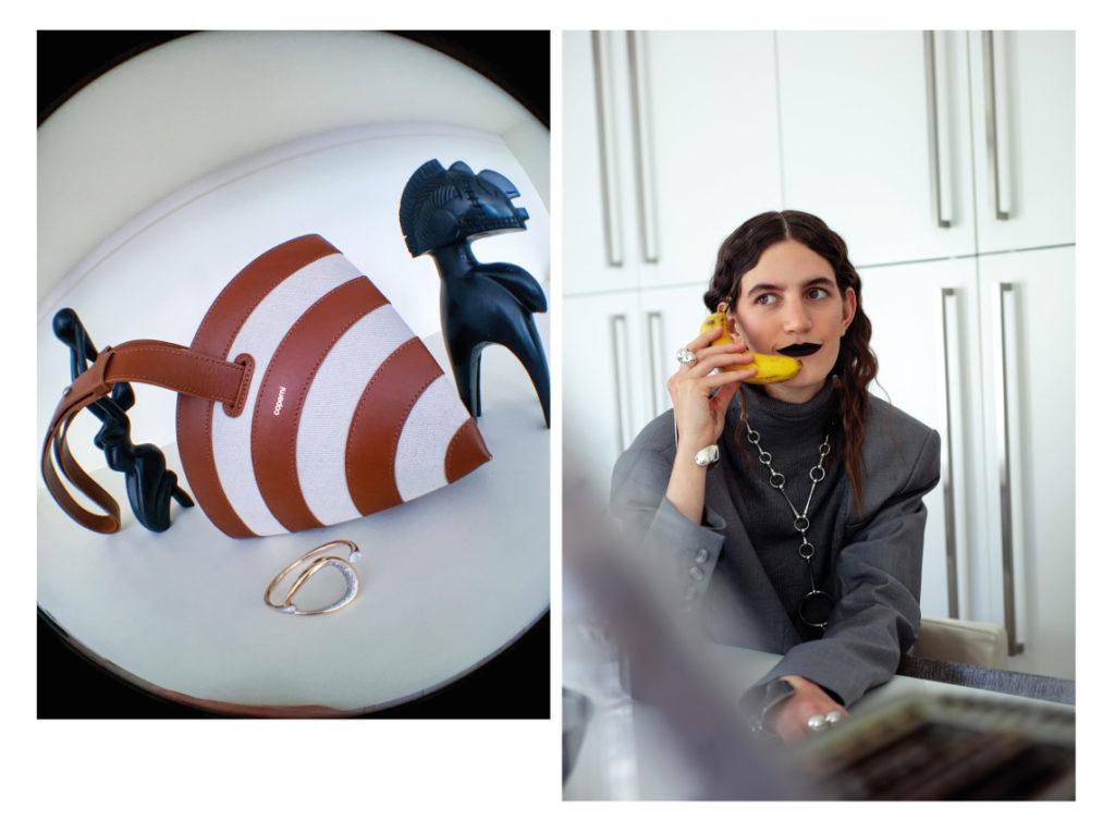 A gauche sac Coperni; collier et bracelet Tasaki ; a gauche blazer Boyarovskaya ;    Collier «Love Lock» en argent massif 925, bague et manchettes  BETONY VERNON.