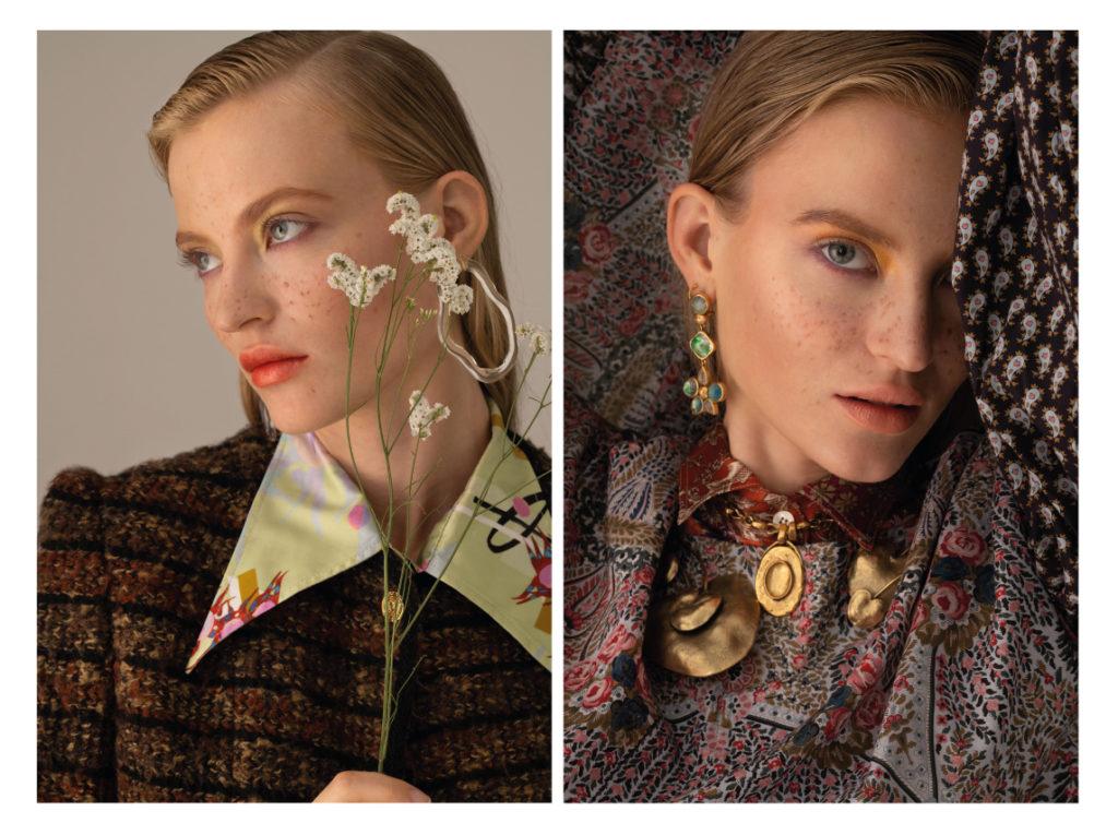 1nstant-beauty- Emma porte une veste en tweed Gucci ; une chemise Boutet ; BO Irina Ashimine ;  Emma porte une robe Liberty London ; une chemise Liberty London ; des BO Goossens ; des colliers Goossens
