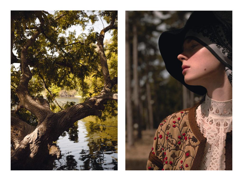 Tilda porte une capeline Maison Michel, foulard Hermès, manteau blouse et jean Celine, ceinture et bottes Celine