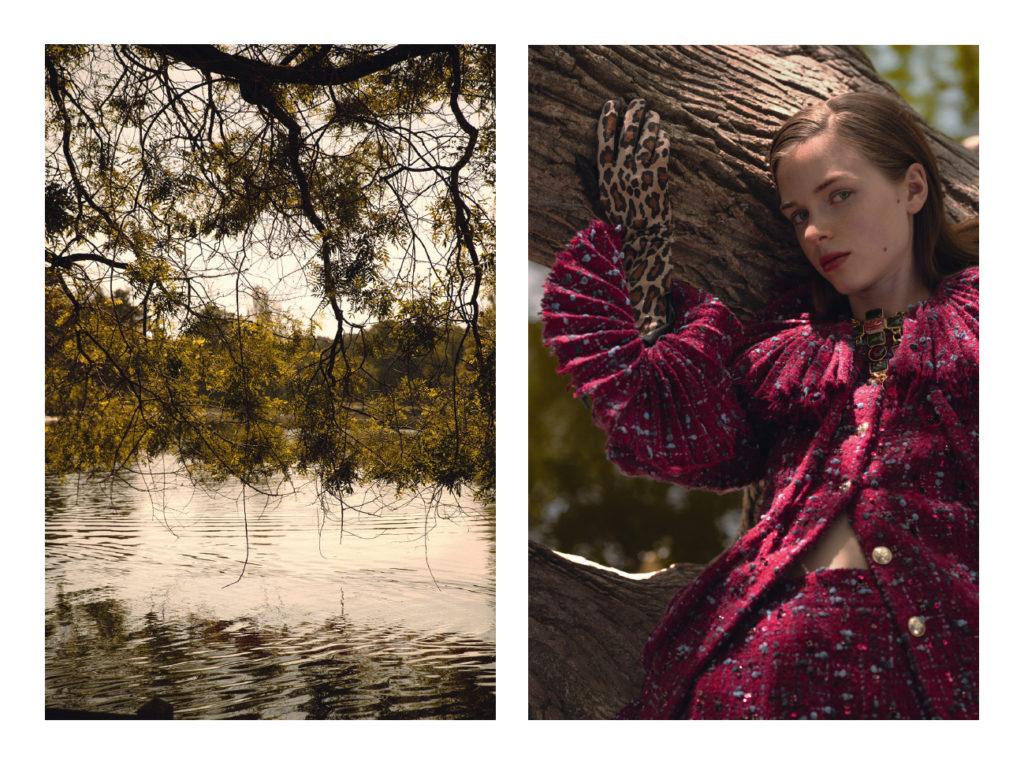 Tilda porte une veste Chanel ; un short Chanel ; une jupe Chanel ; un collier Chanel ; des gants Maison Fabre ; des chaussures Sorel.