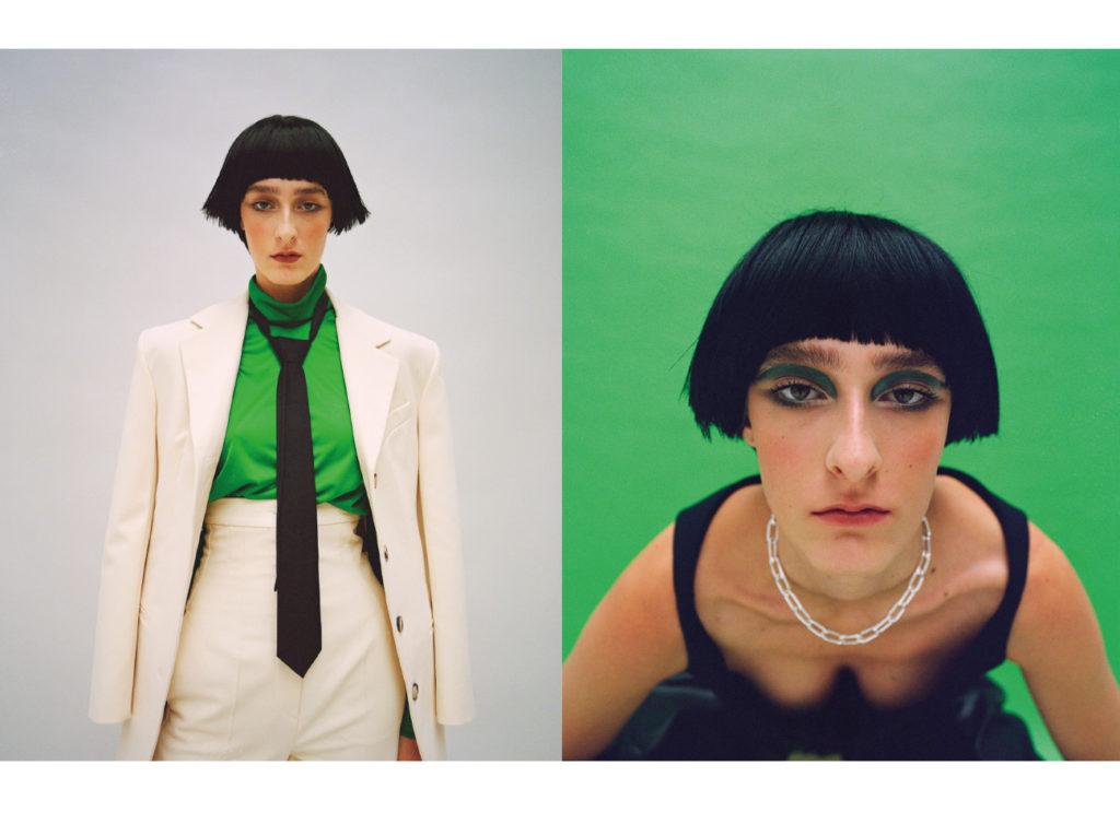 A gauche, Manon porte un costume Max Mara et un sous pull vert Valatte Studio et une cravatte Louis Vuitton. A droite un top Coperni et un collier & Other Stories.