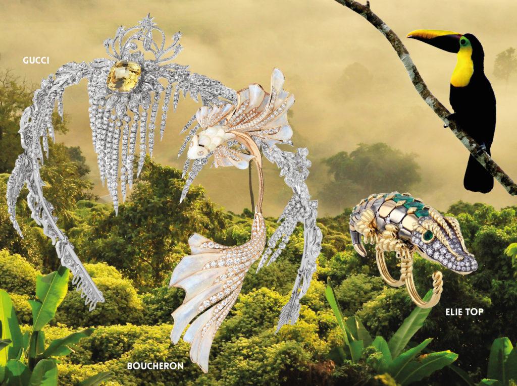 GUCCI HAUTE JOAILLERIE :  Diadème de la Collection Hortus Deliciarum, or blanc serti d'un saphir jaune et de diamants.  BOUCHERON : Bracelet « Holographique » collection Carte blanche, or blanc serti d'une tourmaline rose taille coussin de 14,93 carats et de cristal de roche holographique, pavé de diamants. ELIE TOP : Bague « Double doigt Crocodile »  Collection Magica Naturae, or jaune et or rose serti d'émeraudes et de diamants. ELIE TOP :Bague « Double doigt Crocodile »  Collection Magica Naturae, or jaune et or rose serti d'émeraudes et de diamants. 1NSTANT BIJOUX