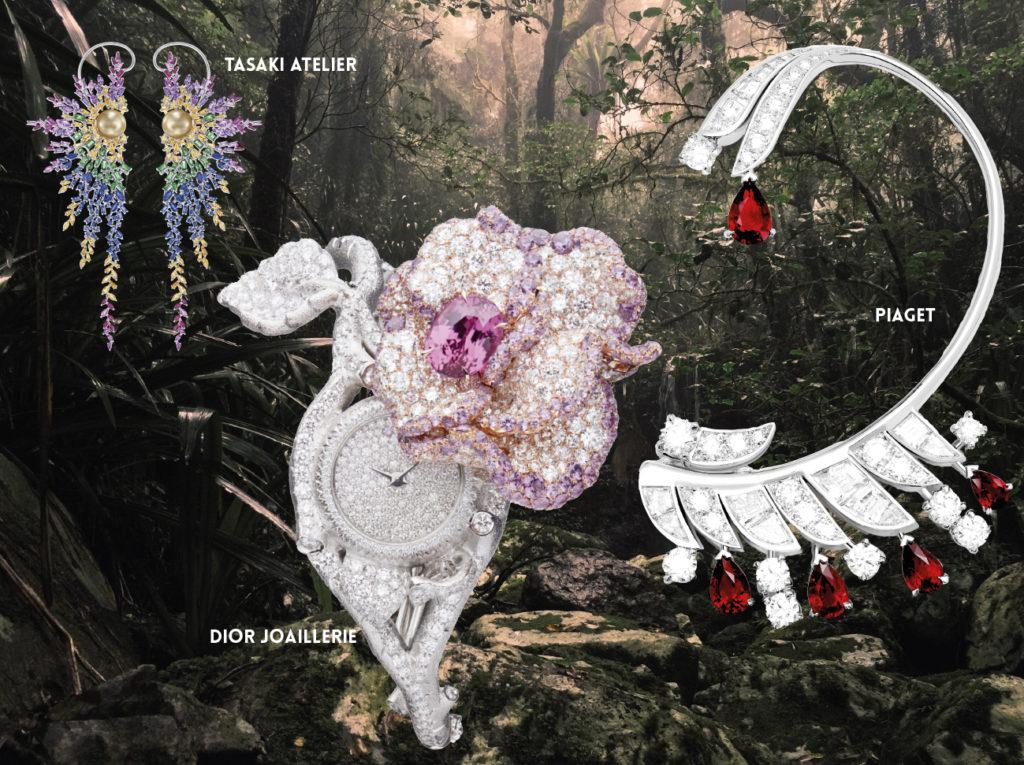 TASAKI ATELIER : Boucles d'oreilles « Iriddescent » en or blanc serti de saphirs bleus, jaunes, violets et roses, de rubis et de grenat grossulaire, perles des mers du sud dorées.  DIOR JOAILLERIE : Montre « Dior Rose » Collection Haute.  PIAGET : Cuff d'oreille «  Blazing Night » Collection Extraordinary Light , or blanc serti de 5 rubis du Mozambique taille poire pour un total de 2,71 carats, diamants taille baguette et taille brillant. Création unique. 1NSTANT BIJOUX
