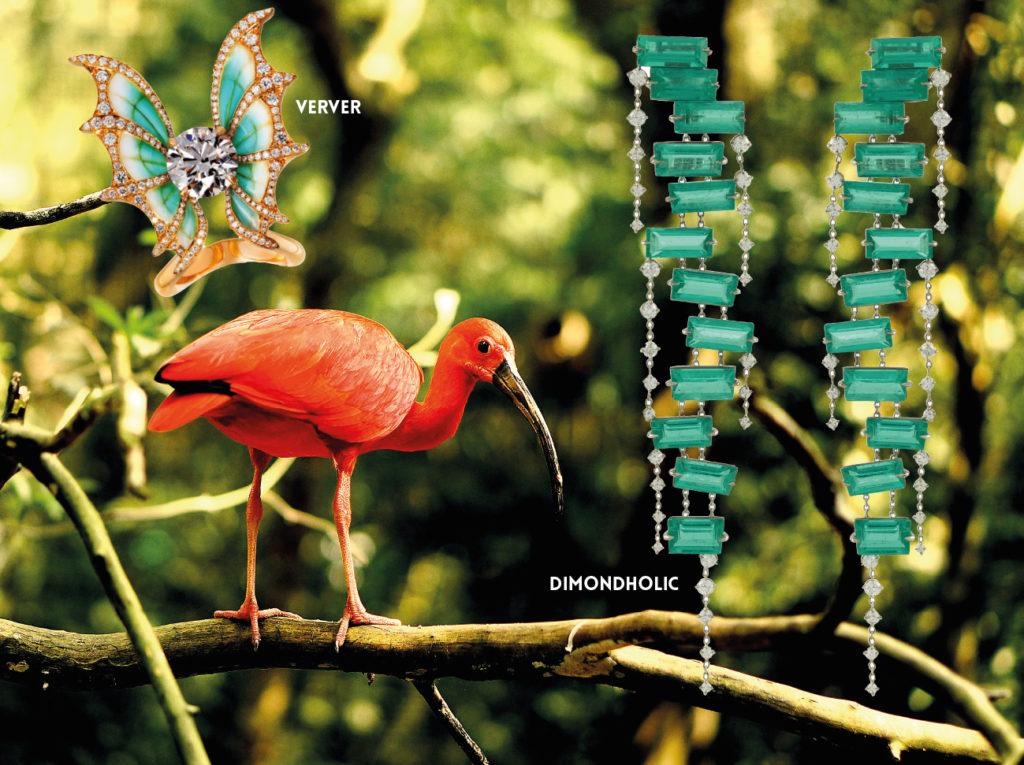 VERVER : Bague «  Nuit Magique » en émail-à-jour bleu vert sur or jaune éthique, serti d'un diamant de synthèse de 3 carats, pavage diamants de synthèse. DIAMONDHOLIC :  Pendants d'oreilles « Red Carpet Emeraudes », or blanc serti d'émeraudes pour un total de 16,98 carats et de 54 diamants. 1NSTANT BIJOUX