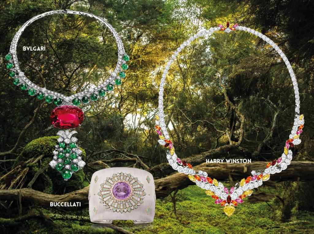 BVLGARI :Collier « Magnifica » Haute Joaillerie, platine serti d'une spinelle taille coussin de 131,21 carats, de 14 émeraudes taille carré pour un total de 17,01 carats, de 27 perles d'émeraudes  pour un total de 84,29 carats et de 105 diamants taille brillants pour un total de 34,49 carats. BUCCELLATI :Manchette « AUBRETA » Collection Il Giardino di Buccellati, or blanc gravé, serti d'une kunzite ronde de 23,31 carats, de diamants et de tourmalines Paraiba.HARRY WINSTON :Collier « Brilliant Glow » Collection Winston with Love, platine et or jaune serti, de 6 rubis, 14 saphirs roses, 16 grenats spessarthites  tous de taille marquise, de 14 diamants jaunes Fancy taille marquise, 99 diamants taille brillant et d'un diamant suspendu en forme de coeur fancy yellow de 3,97 carats.1NSTANT BIJOUX